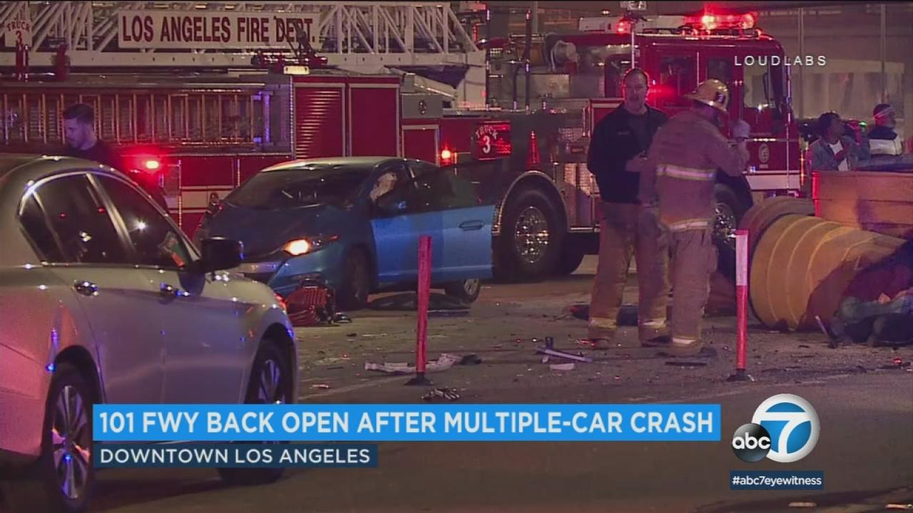 Multiple cars are wrecked in a violent crash on the 101 Freeway in downtown LA on Saturday, Feb. 3, 2018.