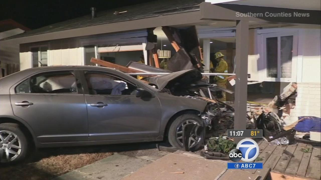 A car slammed into a Costa Mesa house on Tuesday, Sept. 9, 2014.