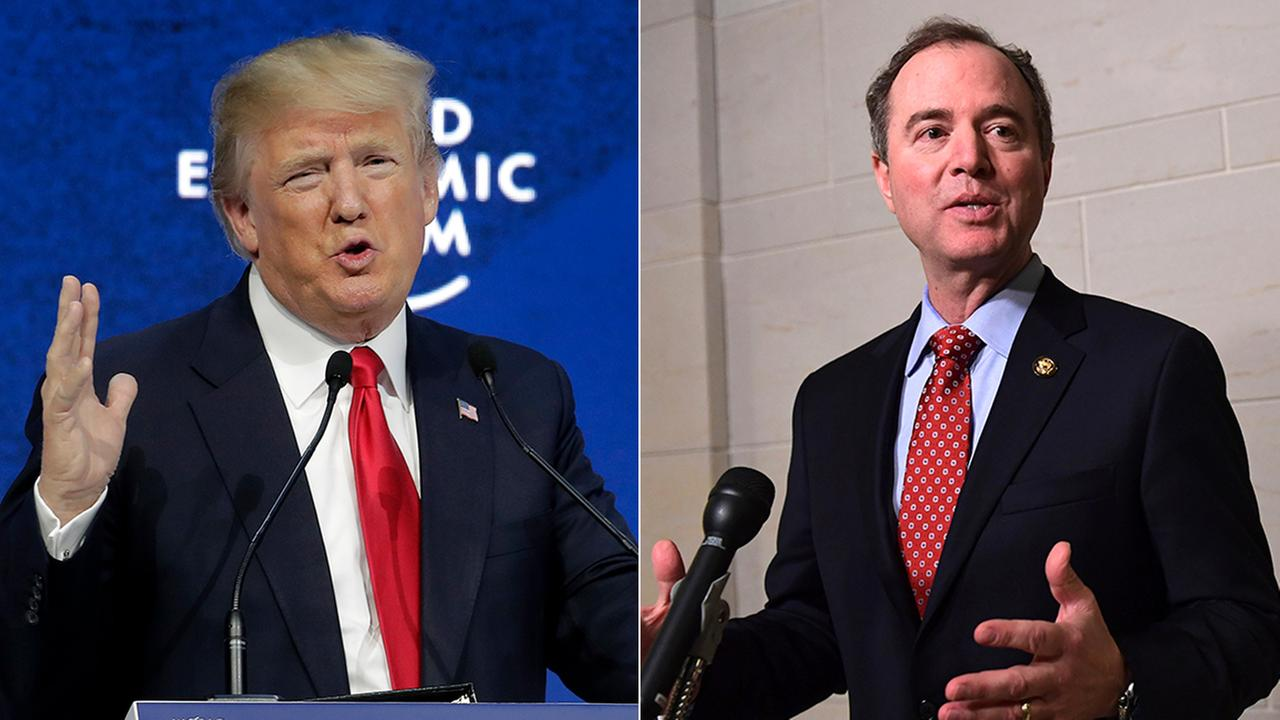 President Donald Trump traded insults with the top Democrat on the House Intelligence Committee on Monday, Feb. 5, 2018. Both are seen here in file photos.