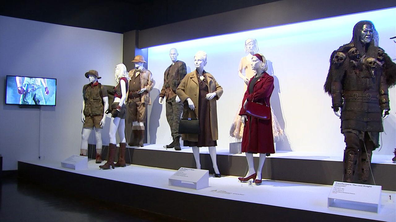 Costumes from movies Jumanji and The Shape of Water are shown at a display at the Fashion Institute of Design and Merchandising in downtown Los Angeles.