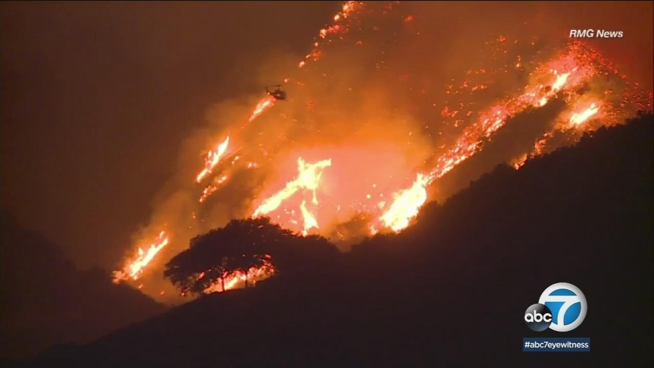 A red flag warning remained in effect for an area straddling Los Angeles and Ventura counties amid an elevated risk of wildfire.