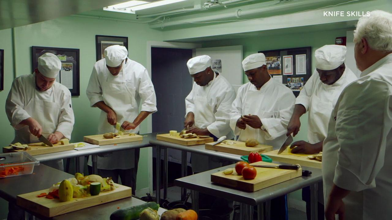 Chefs, some of whom were ex-convicts, are shown cutting vegetables and cooking in an Oscar-nominated documentary called Knife Skills.