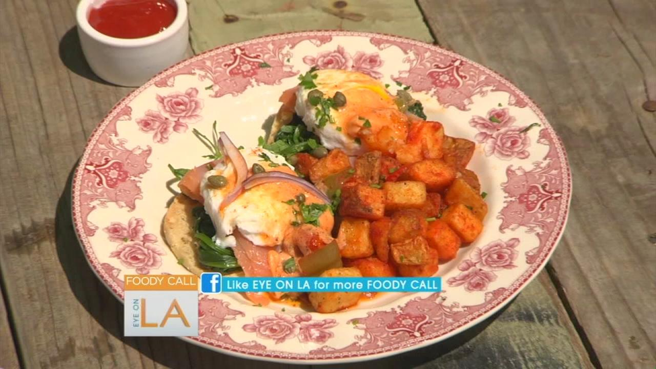 Smoked salmon eggs Benedict sold at Malibu Cafe