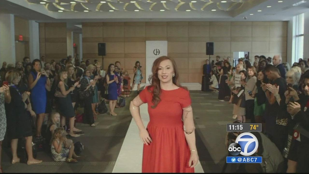 Karen Crespo walks the runway in New York on Sept. 5, 2014.