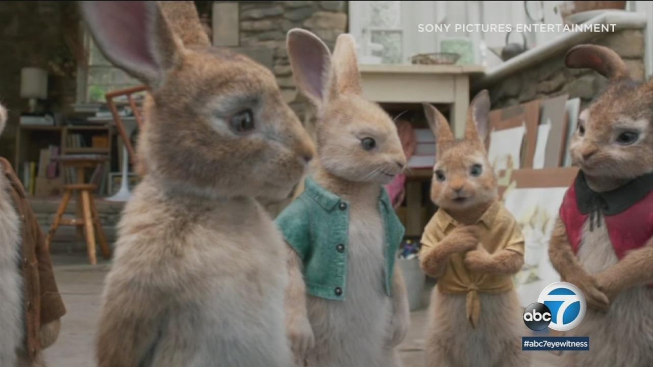 A still shot from the movie Peter Rabbit.