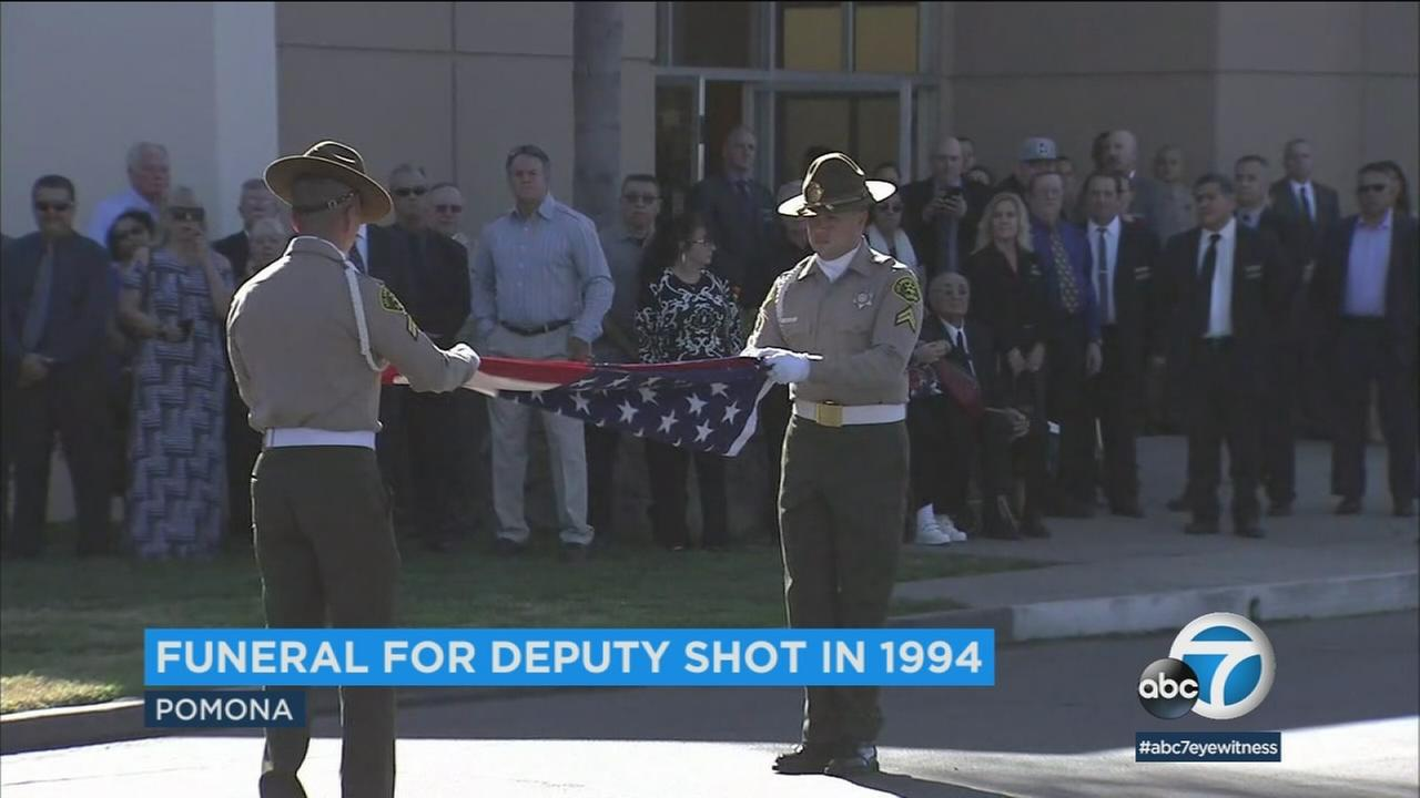 Funeral services were held for a Los Angeles County sheriffs deputy who was shot in the head during a traffic stop in Rowland Heights in 1994.