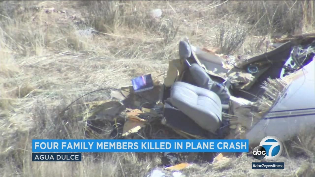 A wrecked Cirrus VK-30 is seen in the Agua Dulce area after a fatal crash on Sunday, Feb. 12, 2018.