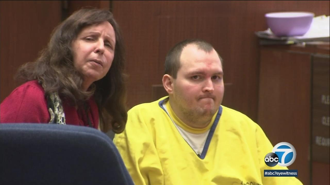 Harry Burkhart is shown in a photo during a court hearing.