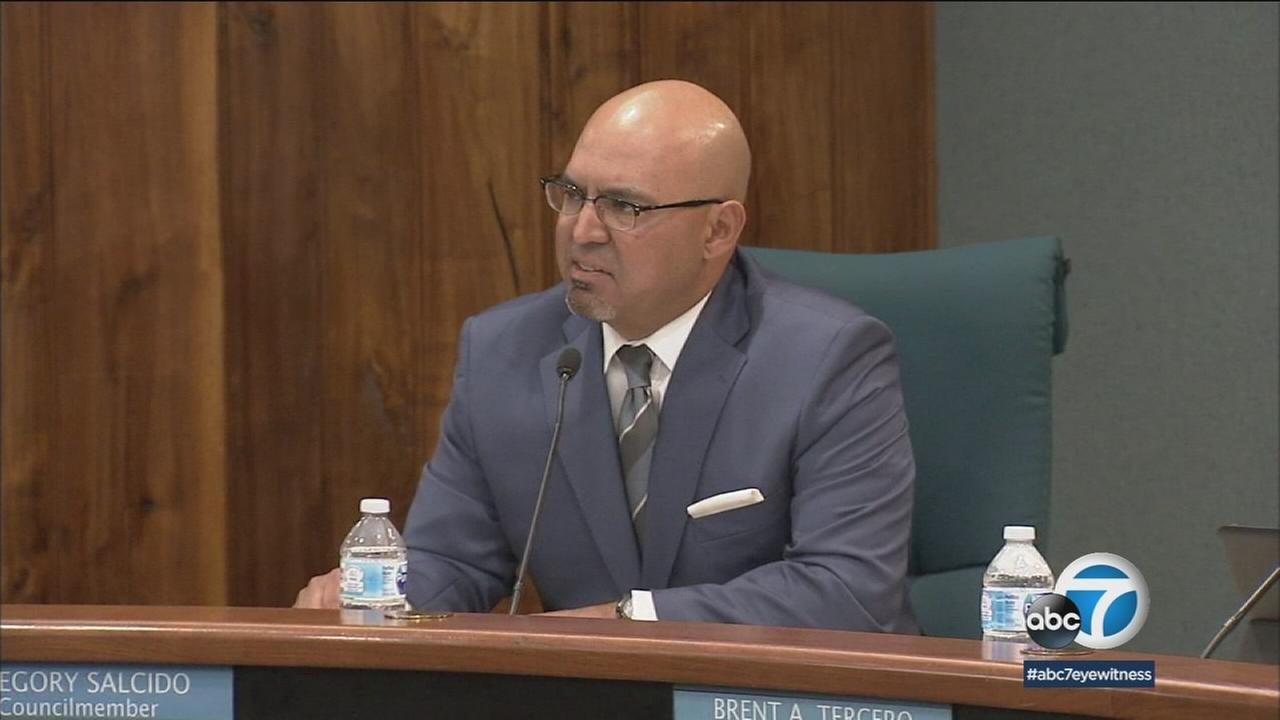 Pico Rivera City Councilman Gregory Salcido is shown during a council meeting where other members called for his resignation over an anti-military rant he made.