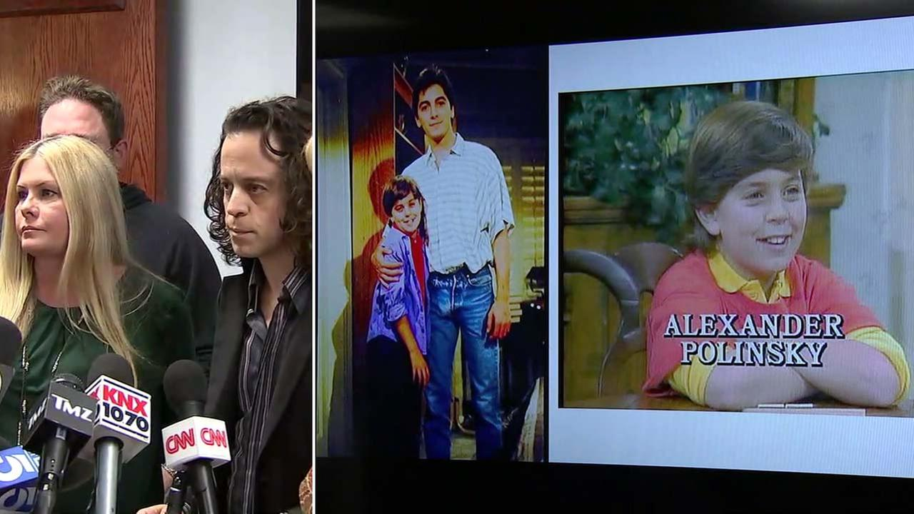 Nicole Eggert and Alexander Polinsky (left) at a news conference on Wednesday, Feb. 14, during which photos (right) of Scott Baio and Polinsky were shown.