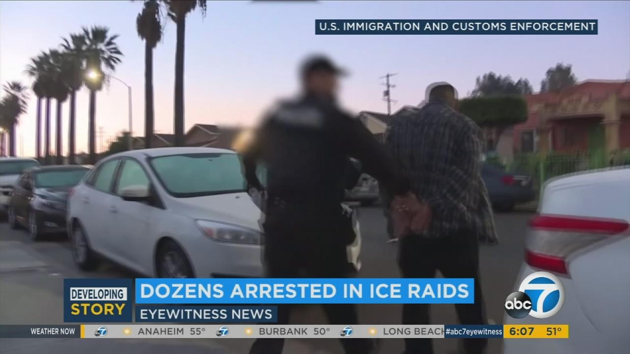 At least 100 people are believed to have been arrested since Sunday as part of a federal immigration crackdown in the Los Angeles area.
