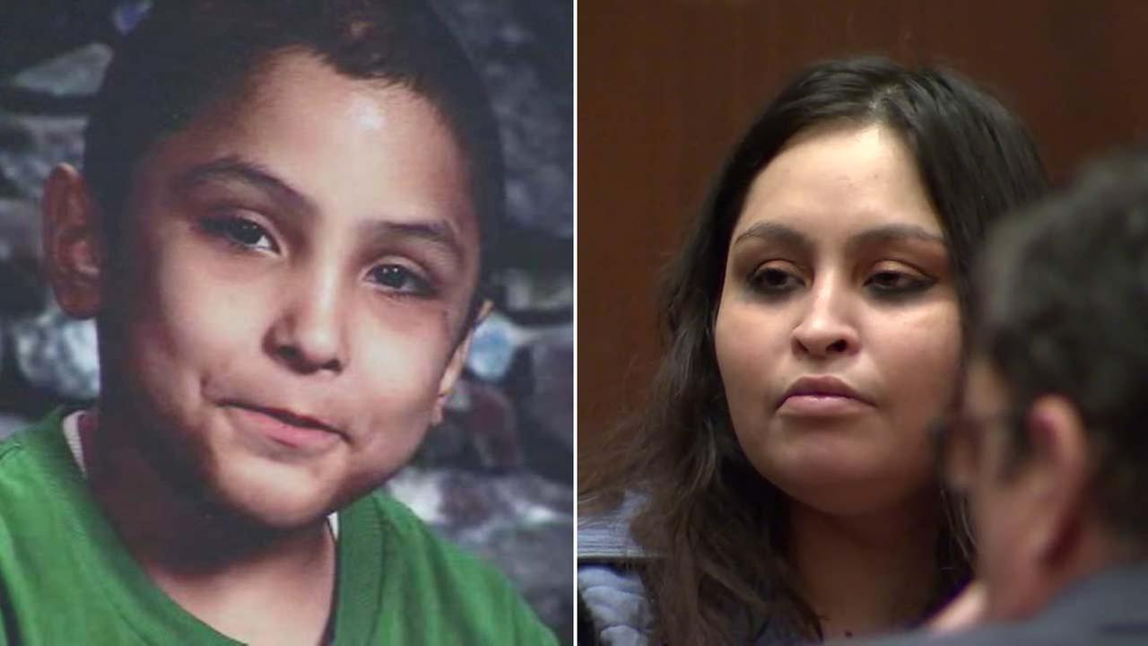(Right) Pearl Fernandez is seen in a Los Angeles courtroom on Tuesday, Jan. 16, 2018. Her son, left, 8-year-old Gabriel Fernandez, was killed in 2013.