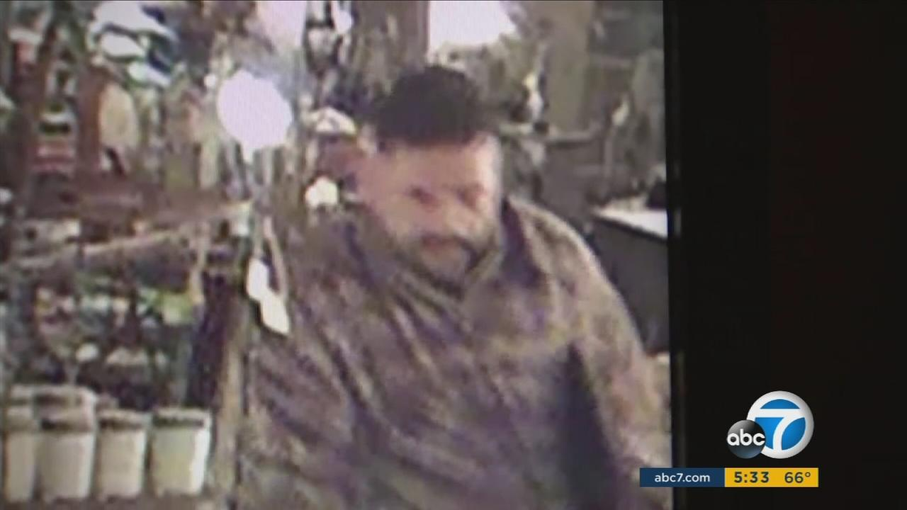 Surveillance video shows a smash-and-grab burglary suspect inside an art business in Riverside.