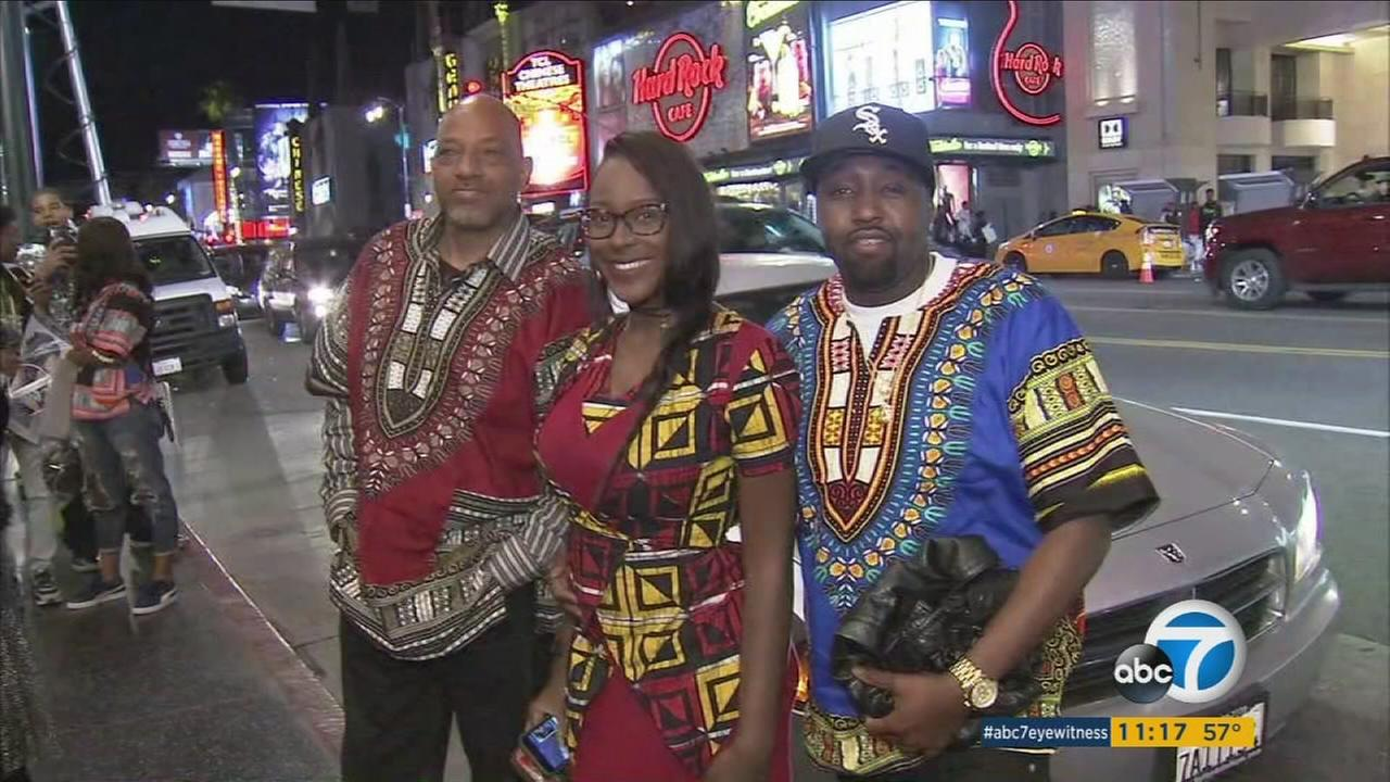 Fans of Black Panther dressed up in traditional African outfits to commemorate the movies official release.