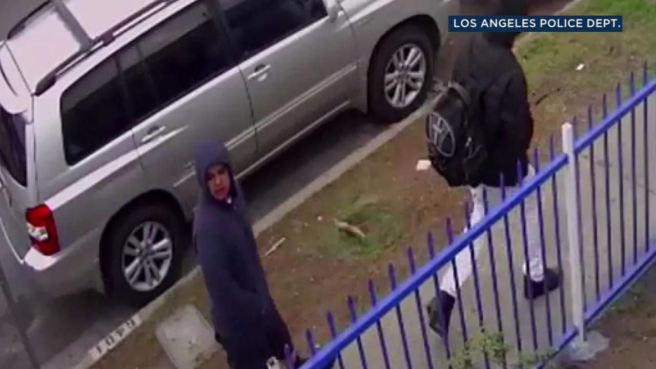 Surveillance video shows the face of one of two suspects who ride a Porsche SUV and rob people in South Los Angeles.