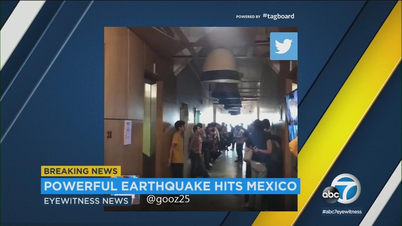 Social media video shows shaking at a school in Mexico after a 7.2 magnitude earthquake struck in the state of Oaxaca.