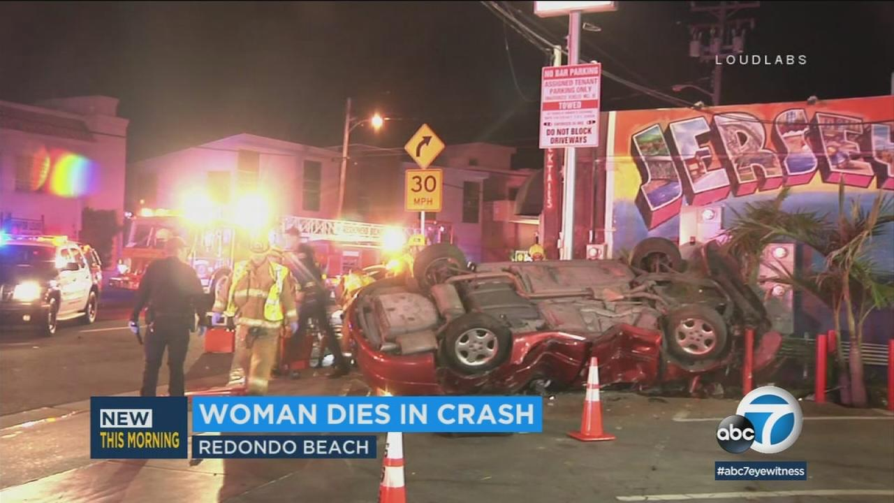The aftermath of a violent Redondo Beach crash that left one woman dead and others injured on Saturday, Feb. 17, 2018.