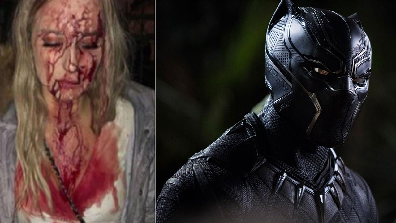 A photo of a woman who was assaulted in Sweden that was used in Twitter bot photos claiming assaults at Black Panther screenings is shown alongside an image from Black Panther.