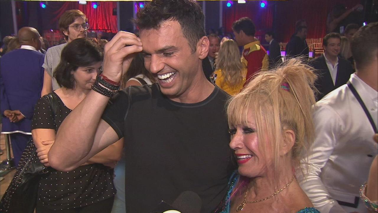 Fashion designer Betsy Johnson and her partner Tony Dovolani on the Dancing With The Stars Season 19 premiere on Monday, Sept. 15, 2014.