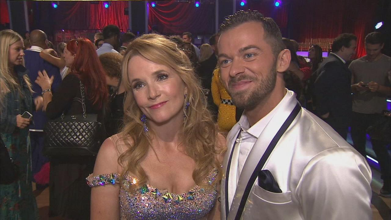 Lea Thompson and partner Artem Chigvintsev on the Dancing With The Stars Season 19 premiere on Monday, Sept. 15, 2014.