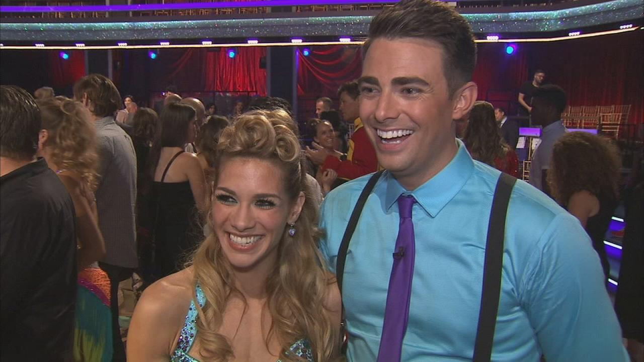 Actor Jonathan Bennett and partner Allison Holker on the Dancing With The Stars Season 19 premiere on Monday, Sept. 15, 2014.