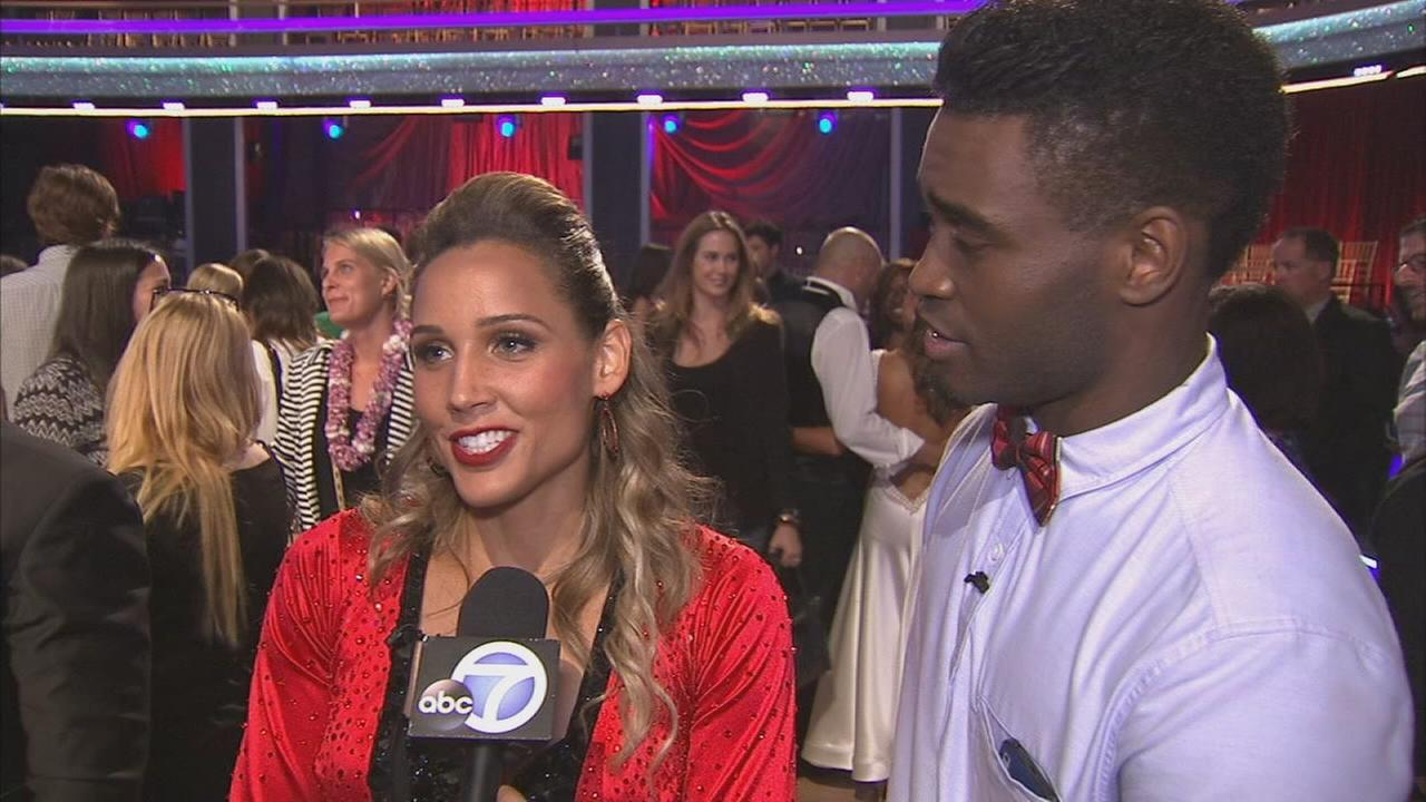 Olympian Lolo Jones and partner Keo Motsepe on the Dancing With The Stars Season 19 premiere on Monday, Sept. 15, 2014.