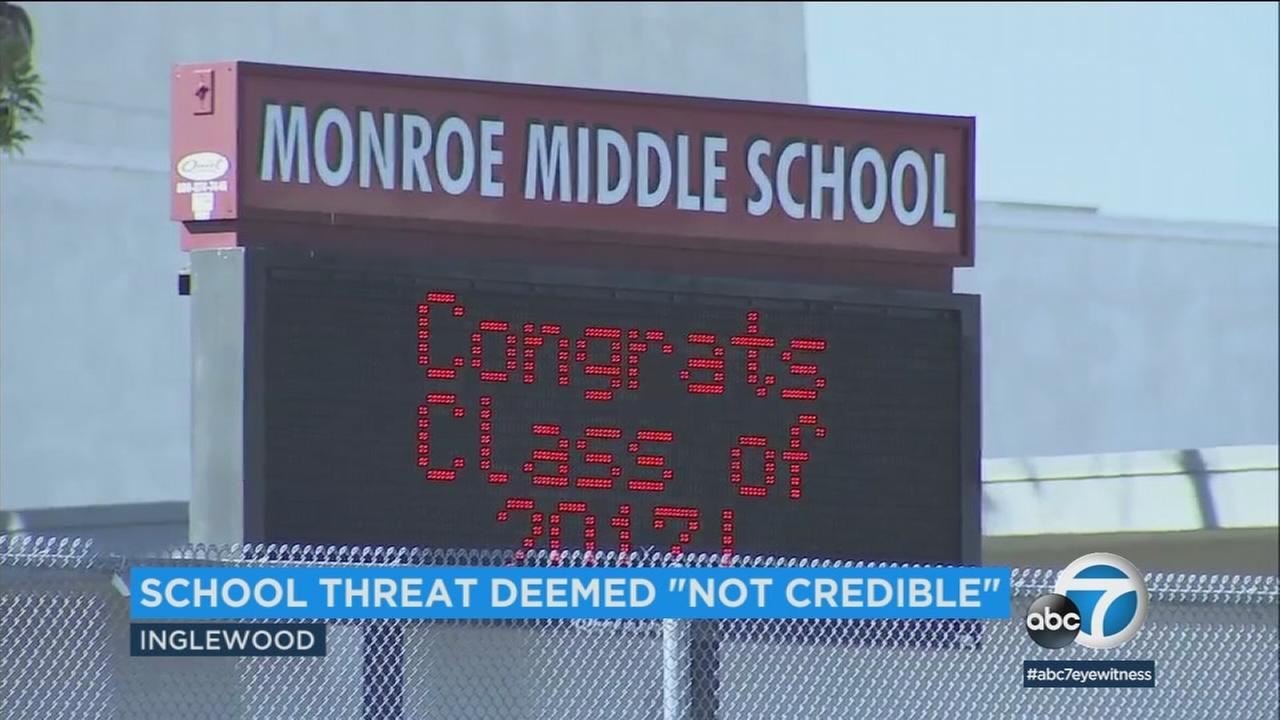 A sign at Monroe Middle School in Inglewood, which was one of the possible schools targeted by a noncredible threat, is shown in a photo.