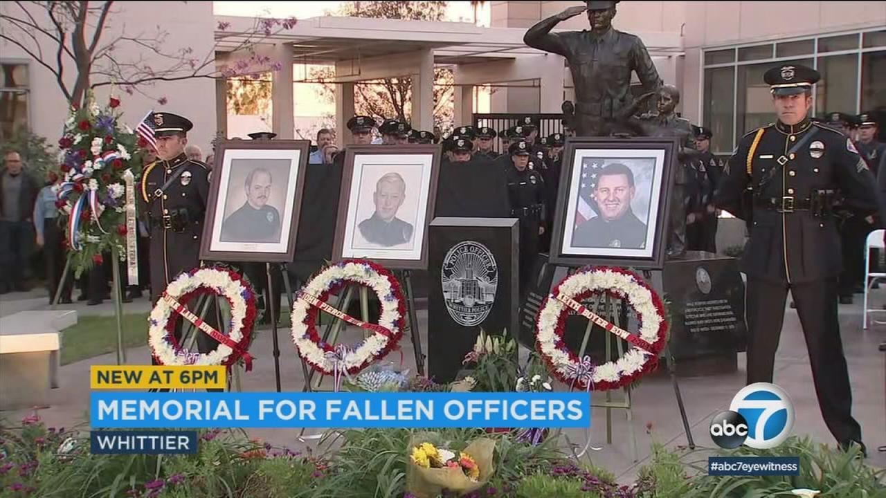 Three wreaths honored three fallen officers outside the Whittier Police Department building at a memorial held on Tuesday, Feb. 20, 2018.