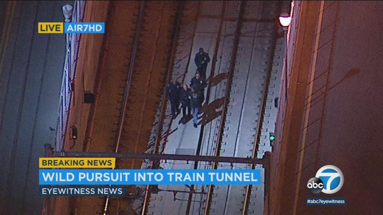 Authorities took a male suspect into custody after he is suspected of leading them on a high-speed chase that ended in a Boyle Heights Metro station tunnel.