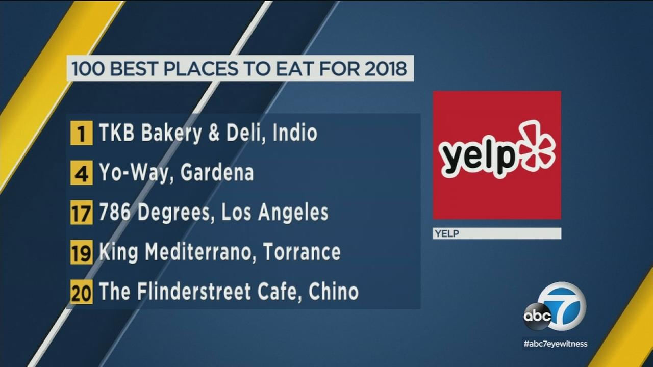 More than one-fourth of restaurants in Yelps annual list of best places to eat are located in Southern California.