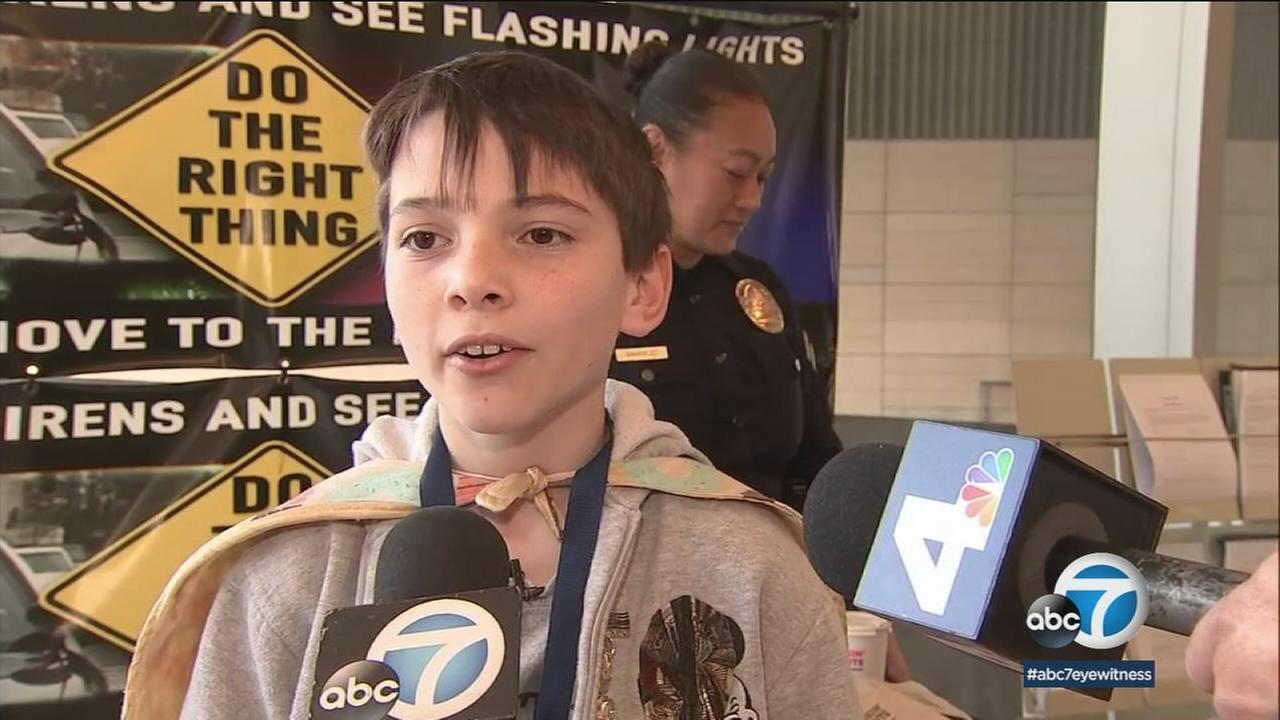 Nine-year-old Tyler Carach has traveled across the country handing out doughnuts to police officers to thank them for their work.