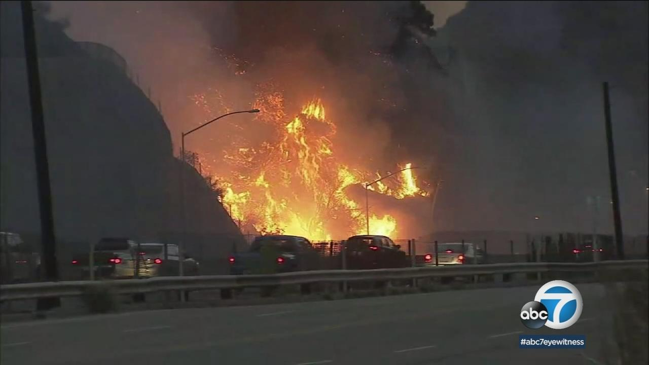 A scene from the Skirball Fire is shown in a photo.