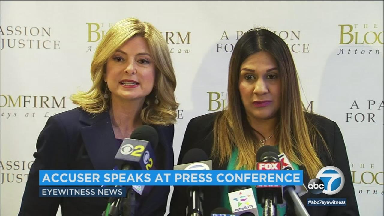Monica Ochoa and her attorney, Lisa Bloom speak at a news conference on Thursday, Feb. 22, 2018.