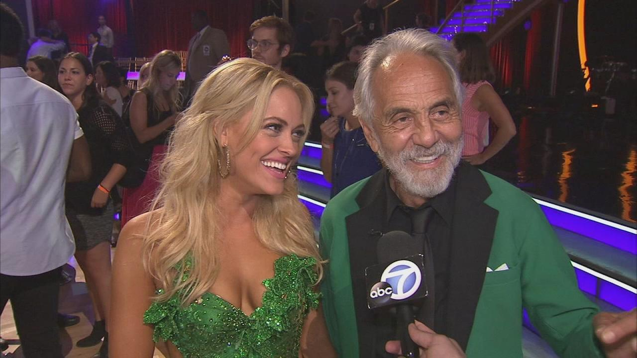 Tommy Chong and partner Peta Murgatroyd talk after the first elimination on Dancing With The Stars Season 19 on Tuesday, Sept. 16, 2014.