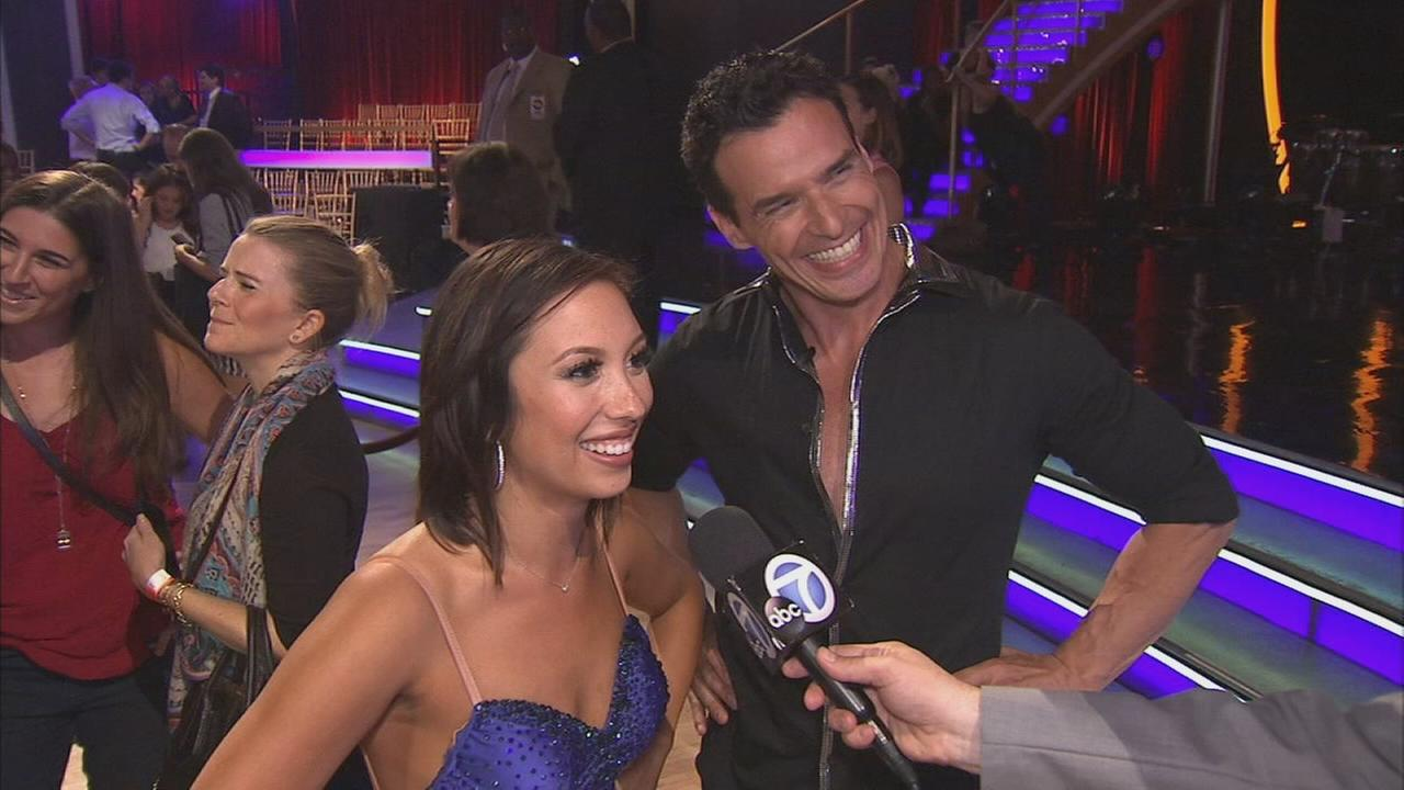 Antonio Sabato Jr. and partner Cheryl Burke talk after the first elimination on Dancing With The Stars Season 19 on Tuesday, Sept. 16, 2014.