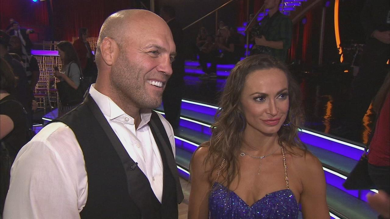 Randy Couture and partner Smirnoff talks after the first elimination on Dancing With The Stars Season 19 on Tuesday, Sept. 16, 2014.
