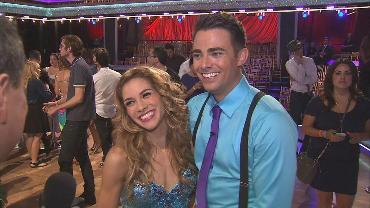 Jonathan Bennett and partner Allison Holker talk after the first elimination on Dancing With The Stars Season 19 on Tuesday, Sept. 16, 2014.