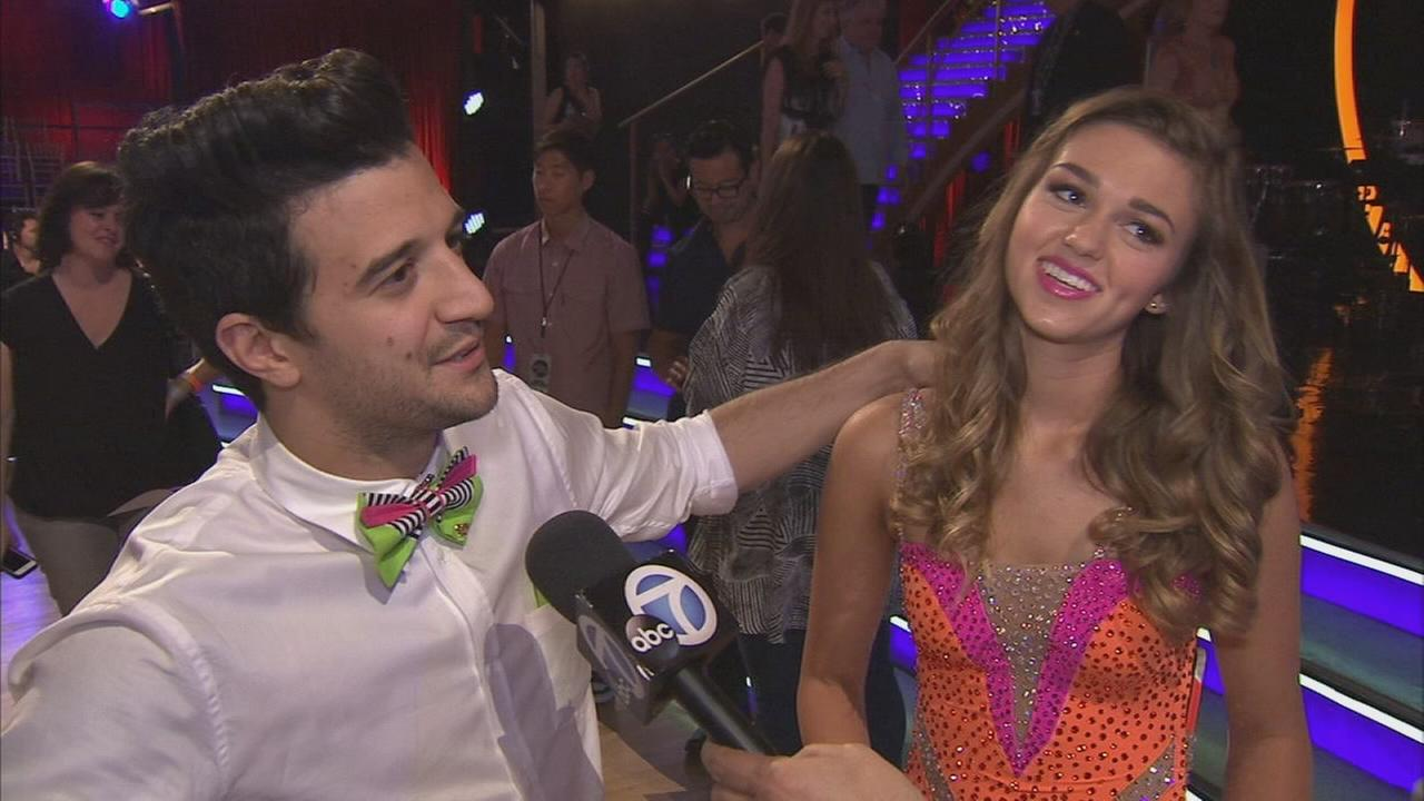 Sadie Robertson and partner Mark Ballas talk after the first elimination on Dancing With The Stars Season 19 on Tuesday, Sept. 16, 2014.