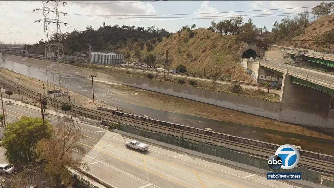 The Los Angeles River is shown where it is met by the Arroyo Seco, Feb. 22, 2018.