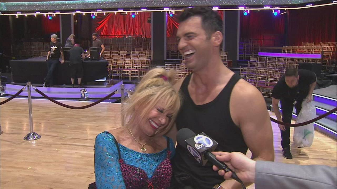 Betsy Johnson and partner Tony Dovolani talk after the first elimination on Dancing With The Stars Season 19 on Tuesday, Sept. 16, 2014.