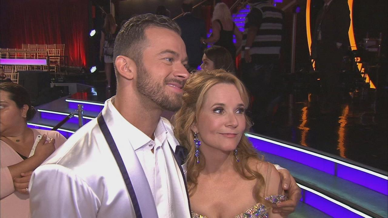 Lea Thompson and partner Artem Chigvintsev talk after the first elimination on Dancing With The Stars Season 19 on Tuesday, Sept. 16, 2014.