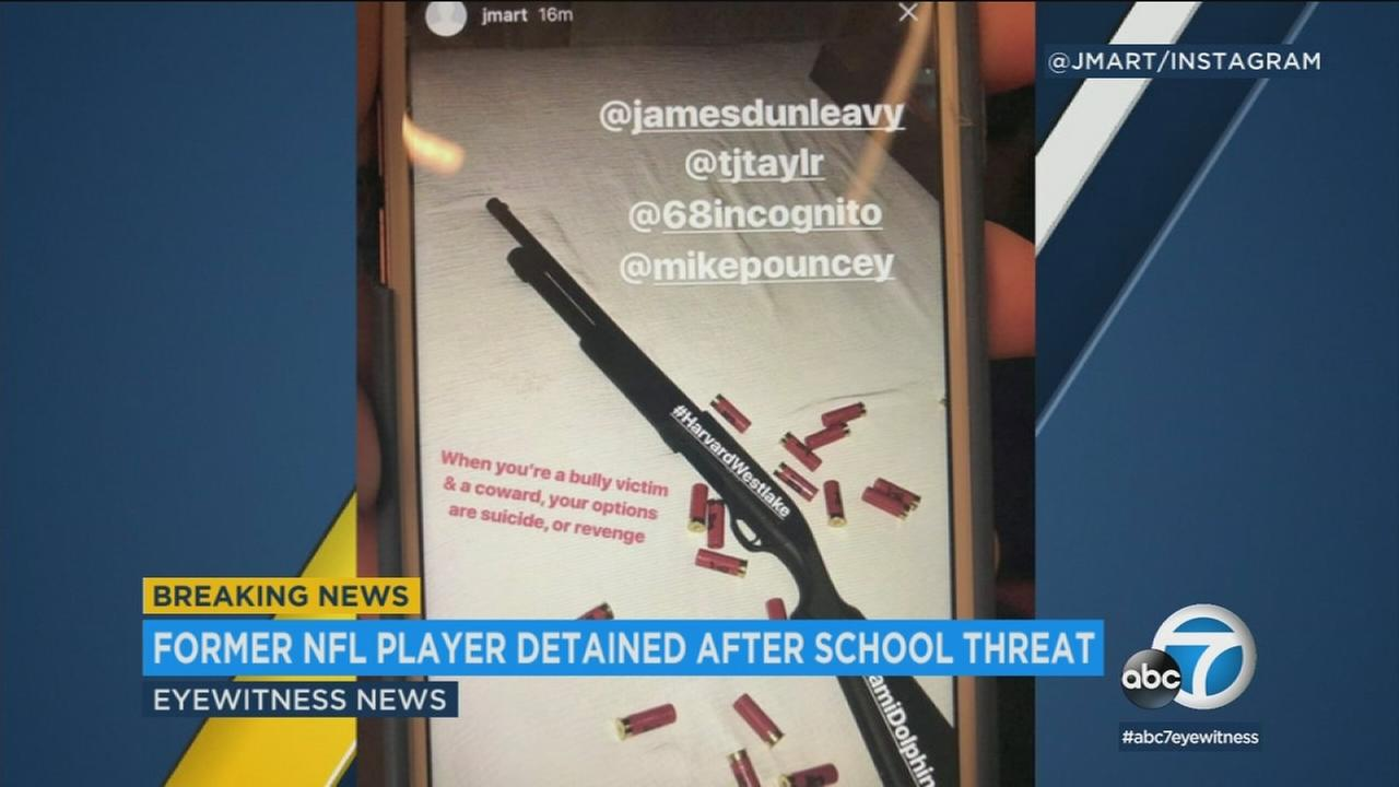 A former Miami Dolphins player is in custody after a social media post caused classes to be canceled at Harvard-Westlake School in Holmby Hills Friday, Feb. 23, 2018.