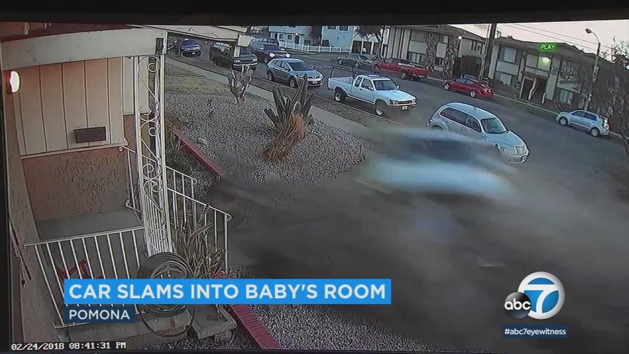 A car went flying down a residential Pomona street and slammed into a room of a familys home where their toddler son had been just minutes earlier.