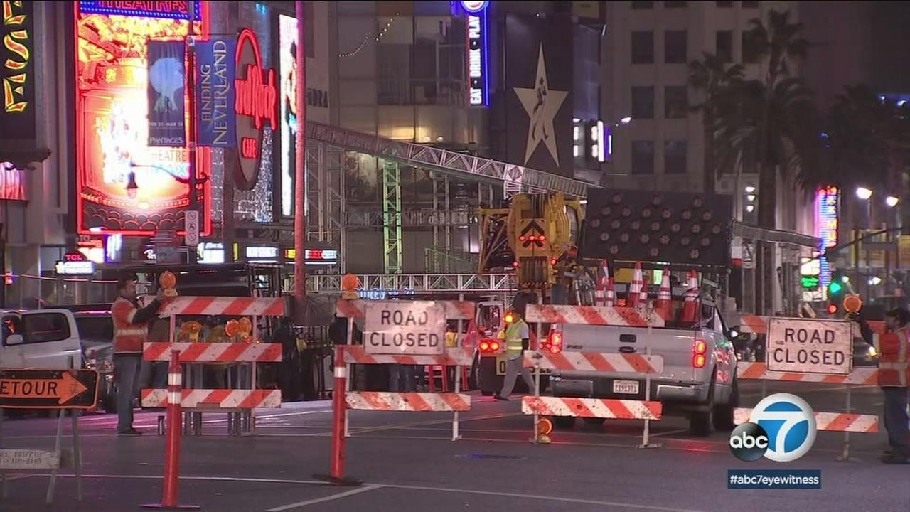 With the Oscars less than a week away, street closures have already begun in Hollywood amid the construction of bleachers and press risers.