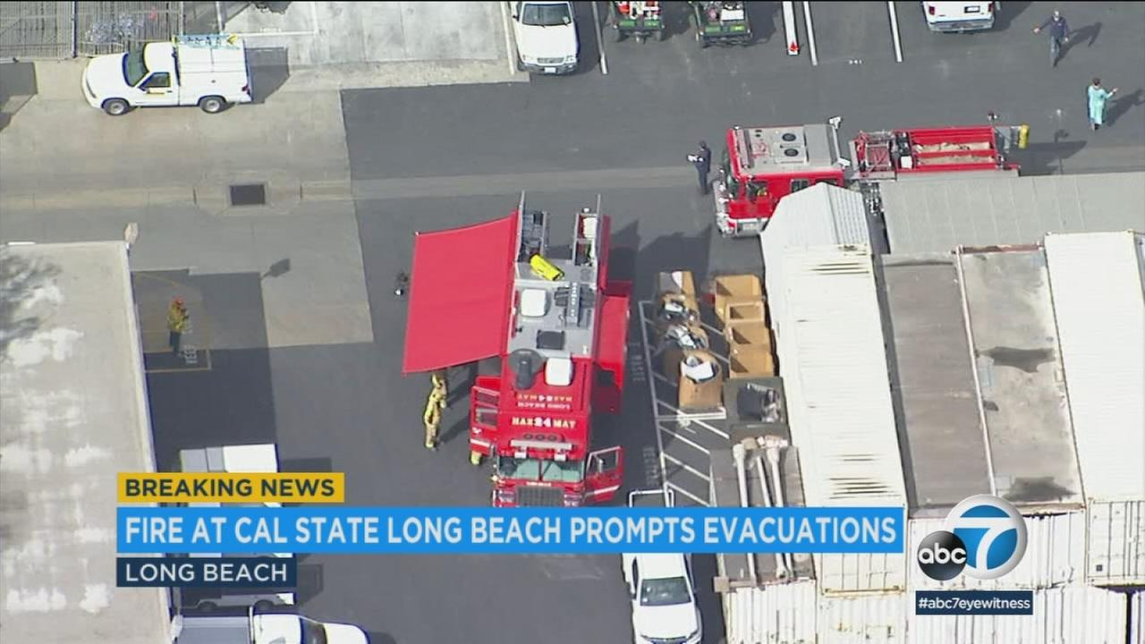 A fire in a building on the campus of Cal State University Long Beach triggered an evacuation Tuesday, according to campus police.