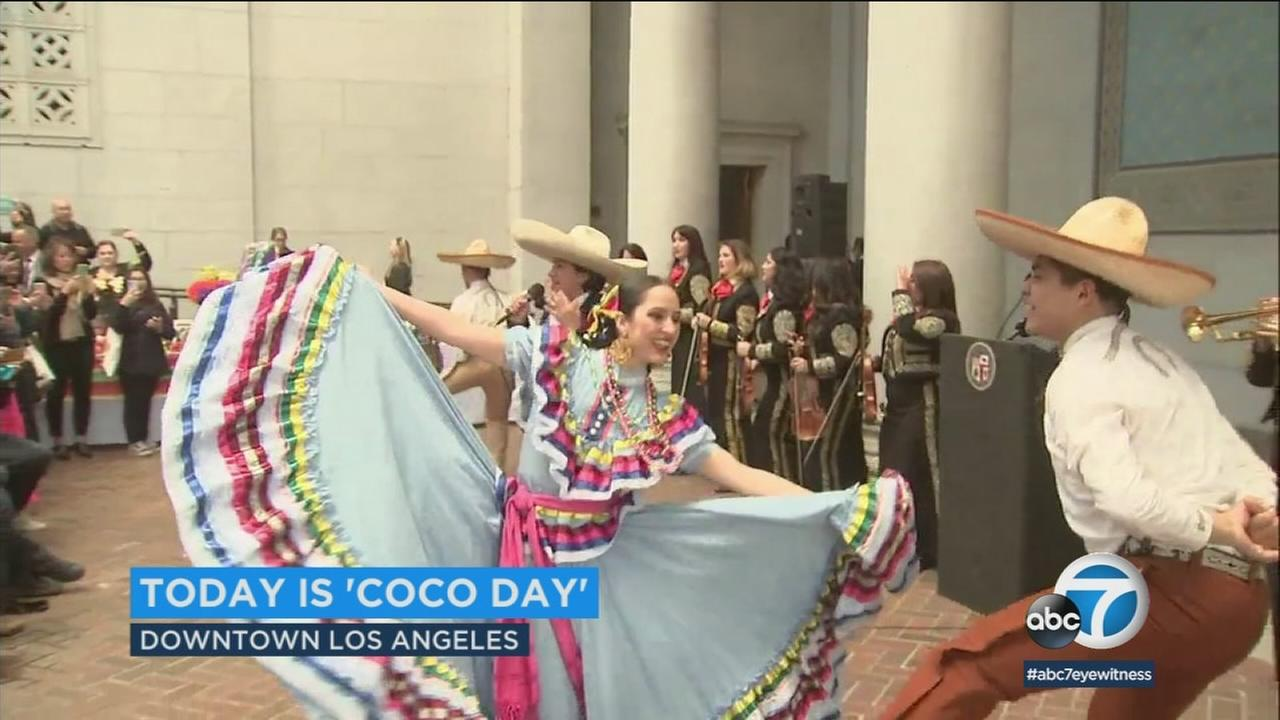 Mariachi singers and dancers celebrate Coco Day in L.A. on Tuesday, Feb. 27, 2018.