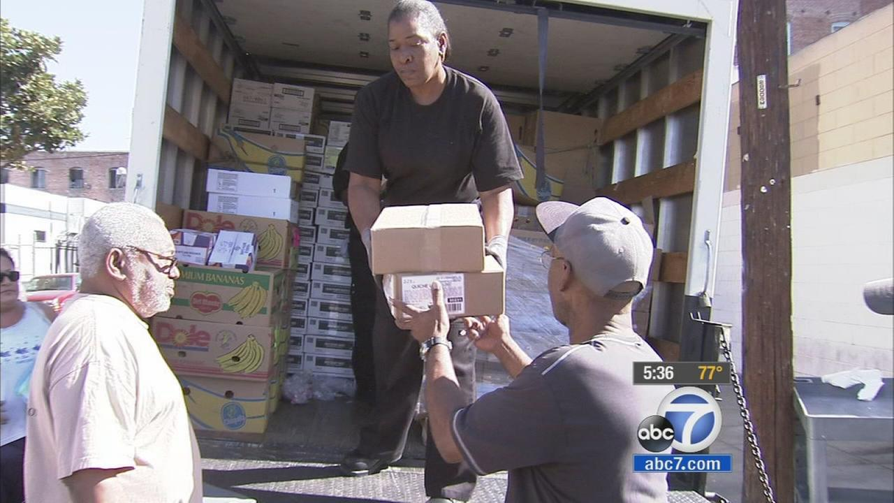 The Los Angeles Food Bank distributes more than 1.2 million pounds of food to help veterans and those in need throughout the county.