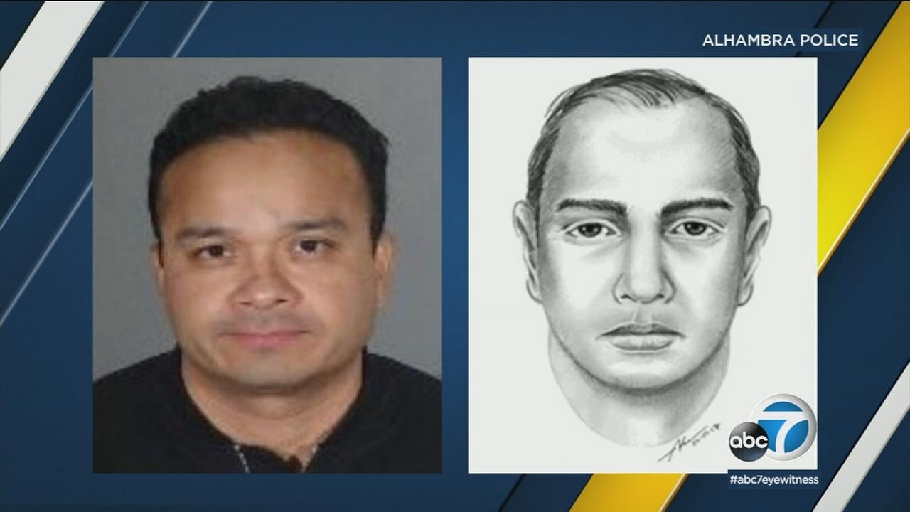 Nicholas Morales, 44, is shown in a mugshot alongside a sketch of him from earlier in 2017.