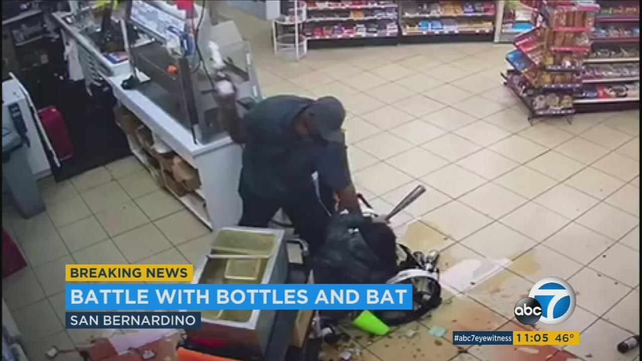 A violent attack was caught on camera at a San Bernardino convenience store.