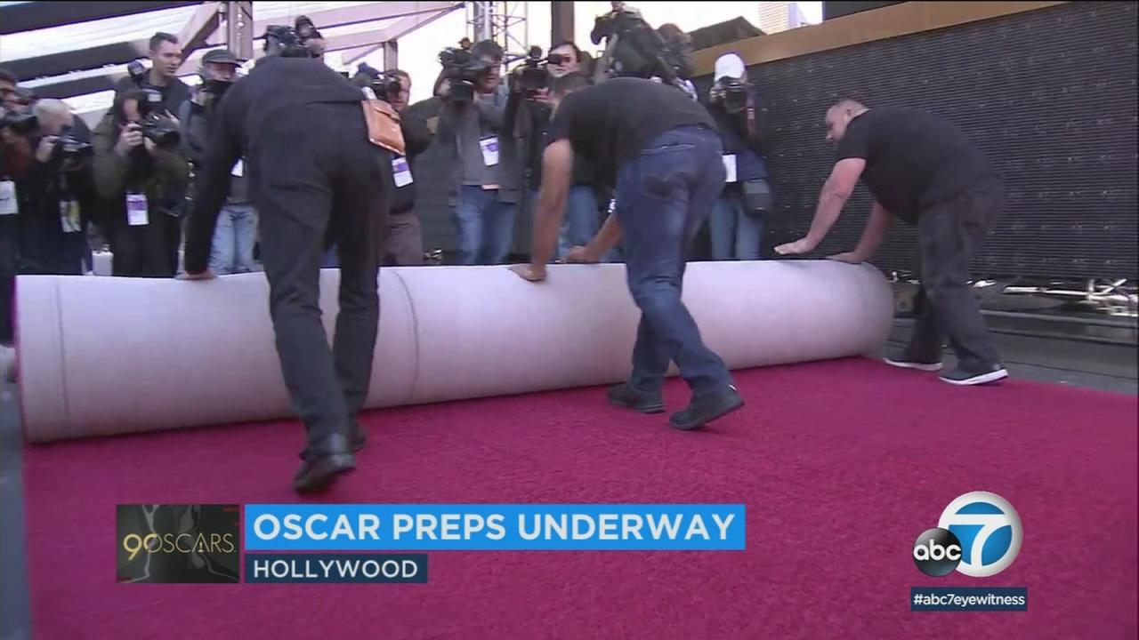 Preparations for the 90th annual Academy Awards on Sunday are underway, including the unveiling of the red carpet.
